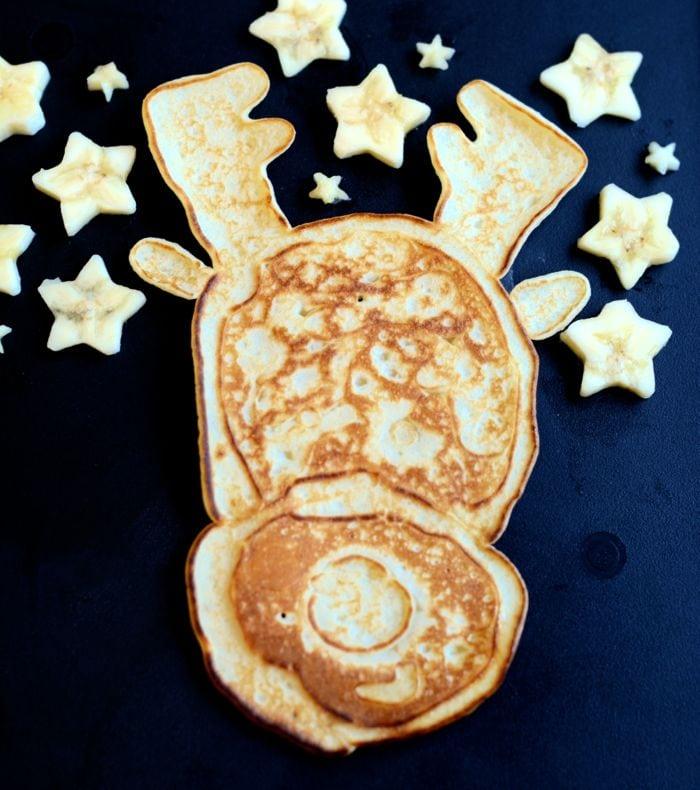 Reindeer pancake art