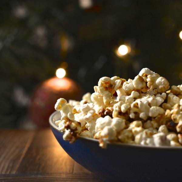 spiced orange christmas popcorn square