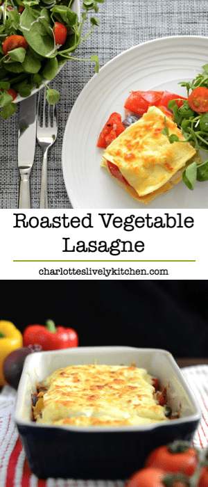 My delicious vegetarian lasagne recipe. Crammed full of roasted peppers, tomatoes and onions.