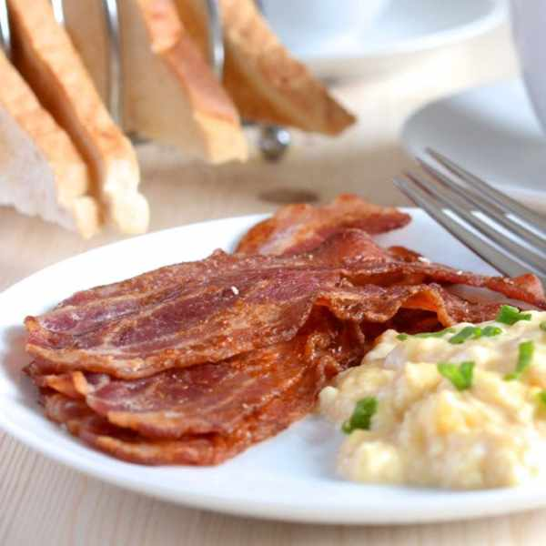 Crispy bacon scrambled egg