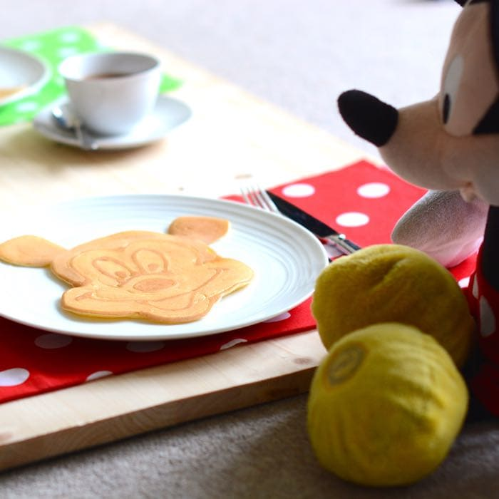 Guess what Mickey Mouse eats for breakfast? Mickey mouse pancakes of course!