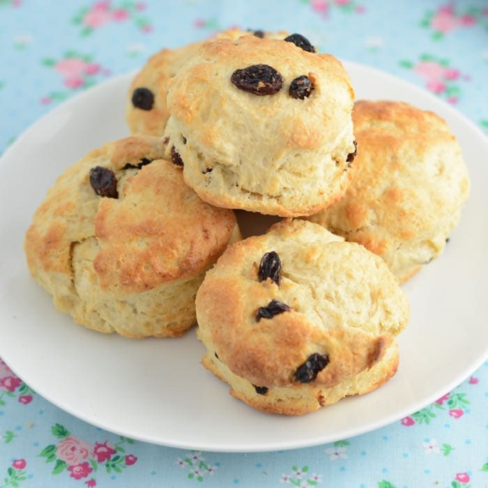 Fruit scones on a plate.