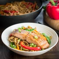 Soy and Sesame Salmon with Noodles