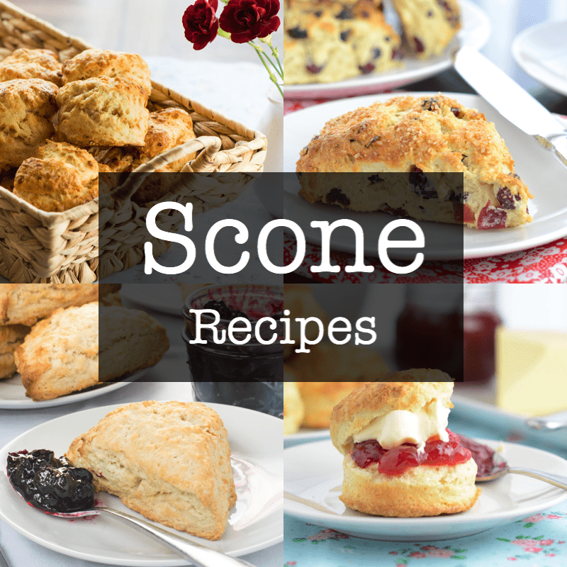 My scone recipe index showing cheese scones, very berry scones, vegan coconut scones and afternoon tea scones with jam and clotted cream.