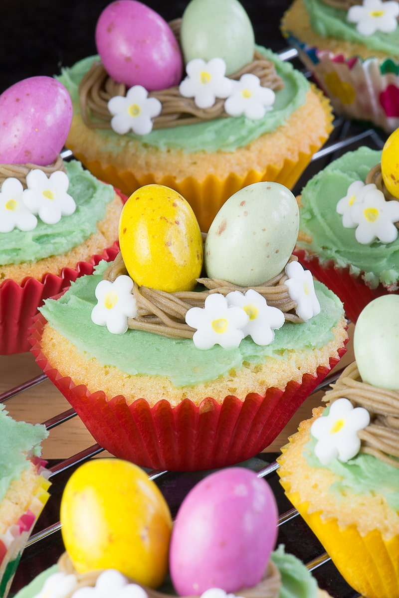Cute, simple and fun Easter Nest Cupcakes, great for getting your little ones involved in the kitchen this Easter.