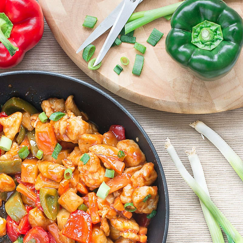 Homemade take-away style sweet and sour chicken. It's ready in under 20 minutes, so quicker than nipping out the the take-away and it's lower calorie too.