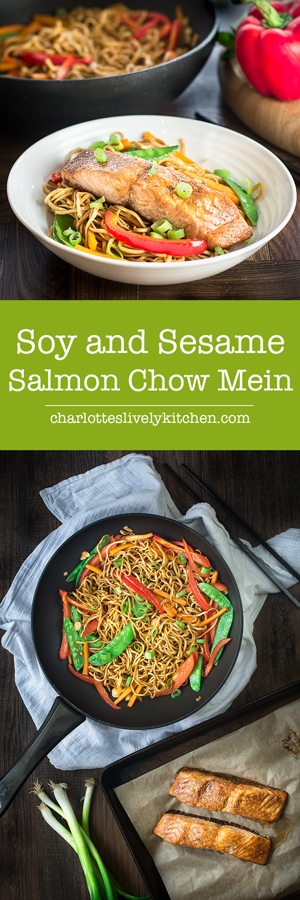 Soy and sesame marinated salmon served with a delicious vegetable chow mein. A quick and healthy midweek dinner.