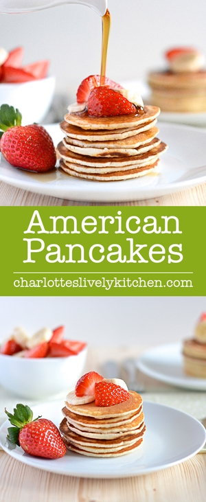 Fluffy, light american pancakes. Quick and easy to make and they taste delicious.