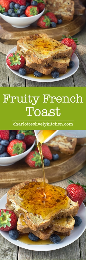 A twist on traditional french toast made with fruit bread and with added orange zest. Perfect for breakfast served with maple syrup and fresh fruit.