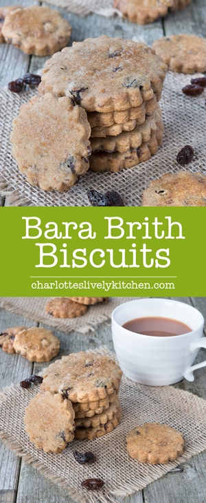 Bara Brith biscuits - A crunchy spiced shortbread biscuit with orange zest and tea-infused raisins.