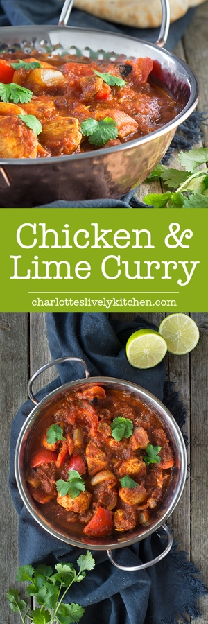 This healthy chicken & lime curry is easy to make and jam-packed full of flavour from the homemade curry paste. It's low in calories and more than 3 of your 5-a-day, great if you're on a diet or the perfect excuse for an extra naan bread and onion bhaji!