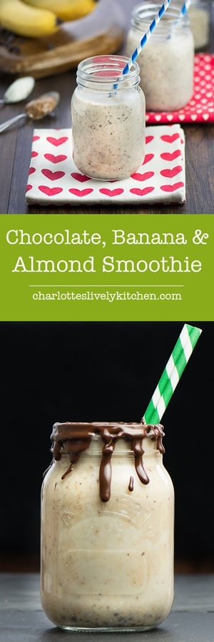 Chocolate, Banana & Almond Breakfast Cheesecake Smoothie - A quick, easy and ever so slightly indulgent breakfast smoothie that will keep you filled up until lunchtime.