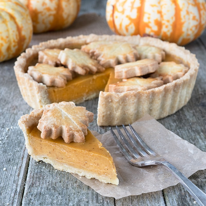 Homemade pumpkin pie is the taste of autumn with crisp shortcrust pastry and a soft, creamy spiced pumpkin filling.