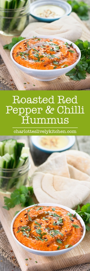 A delicious twist on the classic hummus recipe with the added sweetness of roasted red peppers and a little kick of chilli.