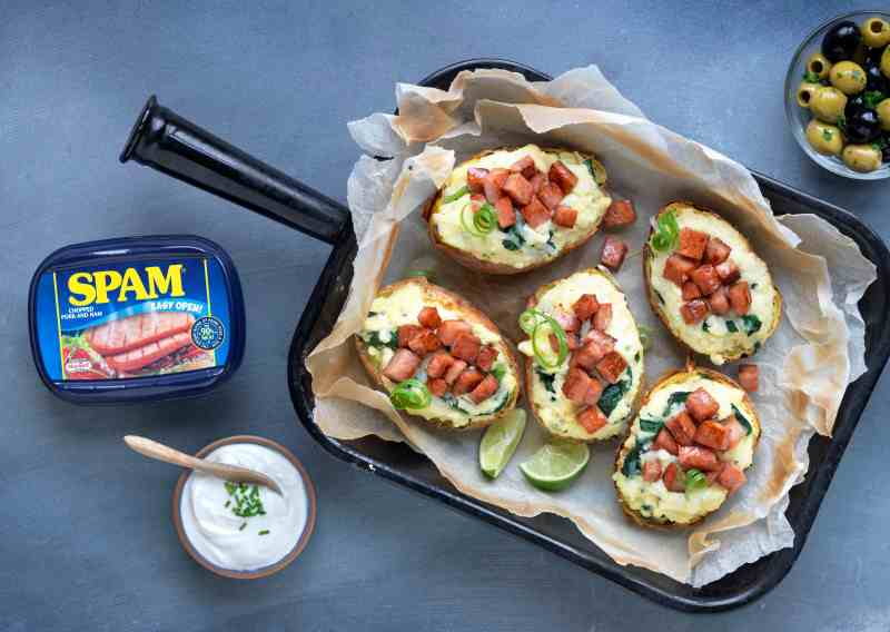 Delicious potato skins filled with creamy mashed potato and topped with crispy SPAM® pieces and melted mozzarella cheese.