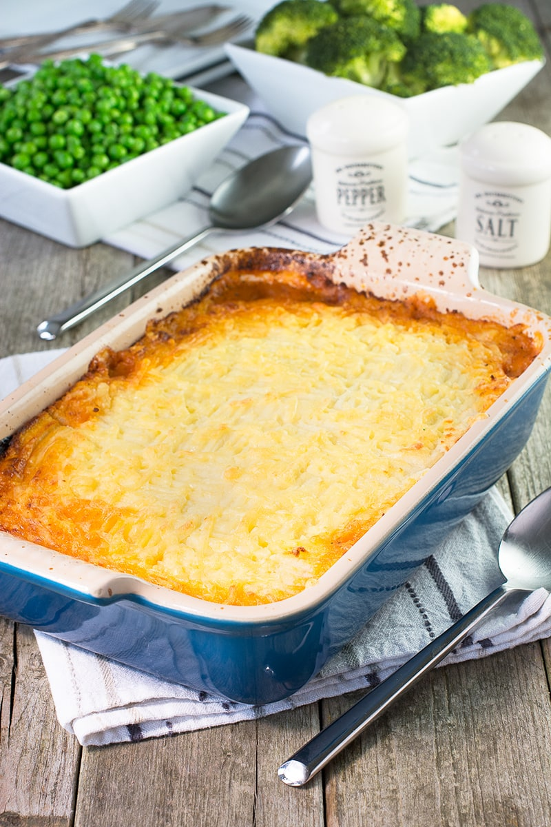 My take on a traditional Shepherd's pie with lamb mince, root vegetables and real ale, and topped with creamy mashed potato.