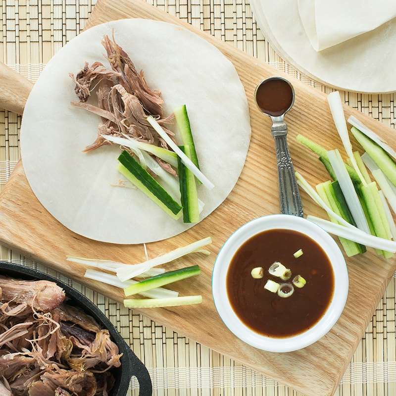 A delicious twist to the Chinese takeaway classic, crispy duck and pancakes, switching the duck for slow-roasted lamb.