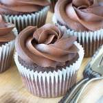 Dairy-free chocolate cupcakes topped with dairy-free chocolate buttercream.