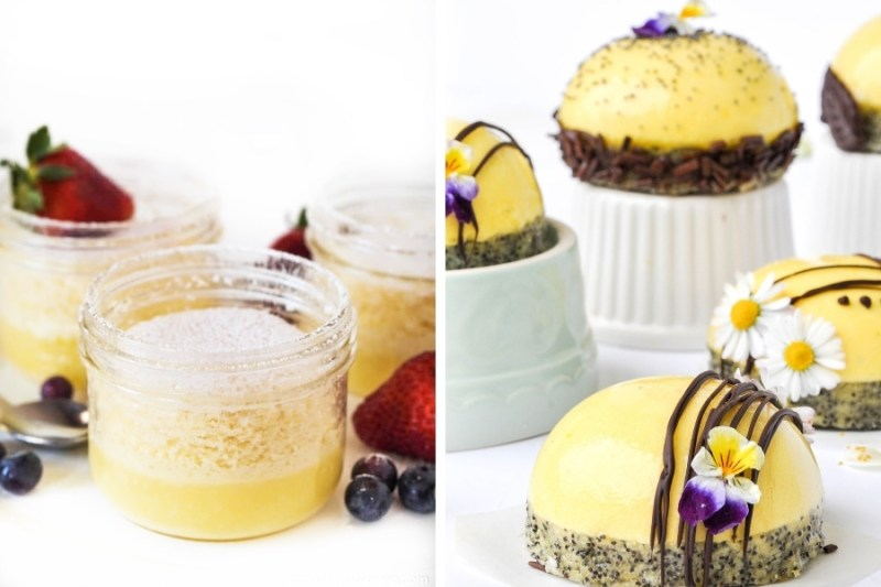 Warm Lemon Pudding Cake and Lemon, Poppy Seed & Tarragon Dessert