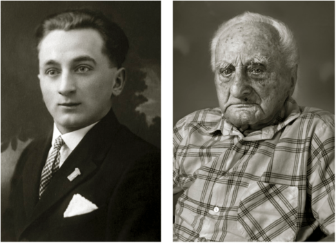Ludvík Chybík, *1908 Zlín. On the left 20 years old (skilled confectioner), on the right 102 years old