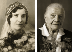 Marie Burešová, *1910, Karolínov on Kroměřížsko. On the left 23 years old (wedding), on the right 101 years old