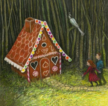 Hansel and Gretel finding the Gingerbread House by Charlotte Steel