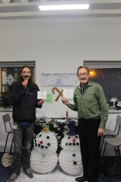 Graham and ..Graham? (Mike got a Tansley Tache from another stall) Posing with their snowmen and reindeer sketches!