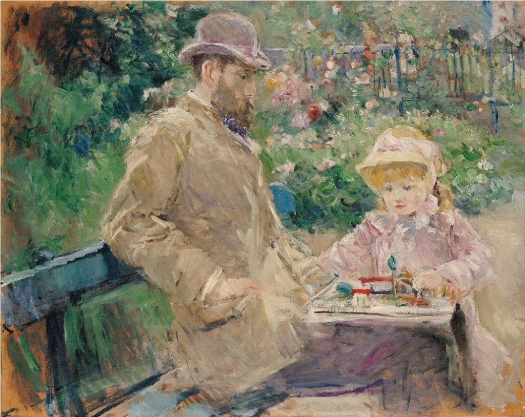 Eugene Manet and His Daughter at Bougival 1881 Berthe Morisot