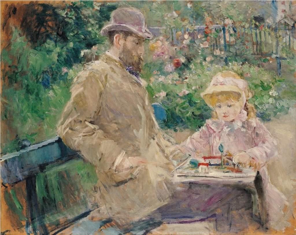 Eugene Manet and His Daughter at Bougival 1881 Berthe Morisot