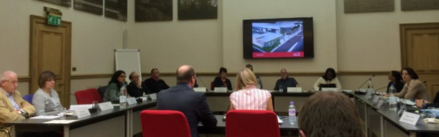 Councillors listen to arguments in their revamped committee room
