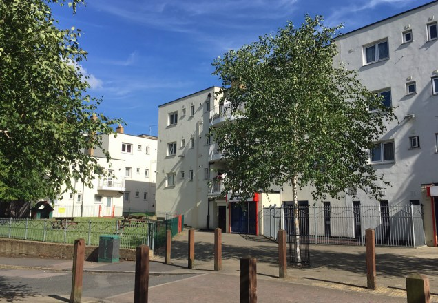 Macalls Court and Harold Gibbons Court were constructed after World War II. They were also reclad in 2012.
