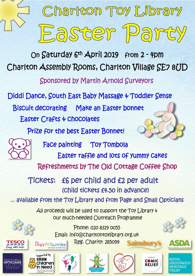 Charlton Toy Library Easter party 2019 Poster