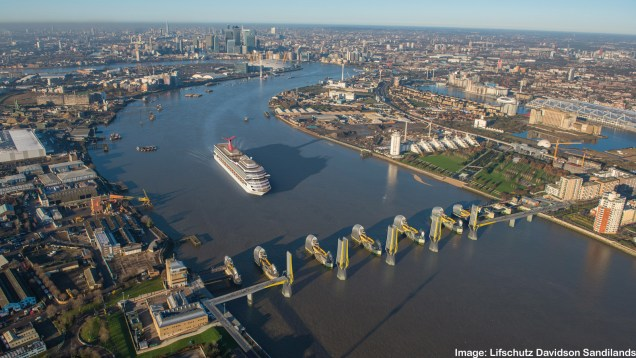 Thames Barrier Bridge from above