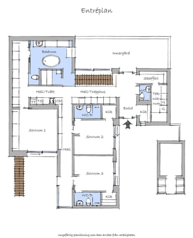 スウェーデンの黒と白のインテリアデザインとニルソンヴィラモダンビーチハウスのフロアプランの青写真1階