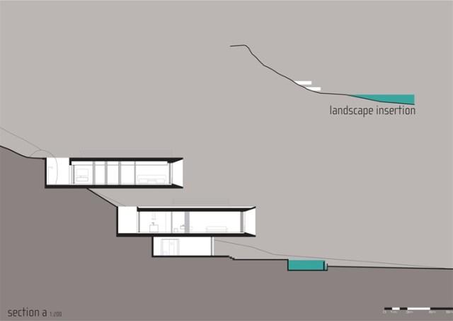 青写真フロアプランセクション平面トラフ荒野のミニマリストモダンビーチハウス-マルシオコーガンによるパラティハウス