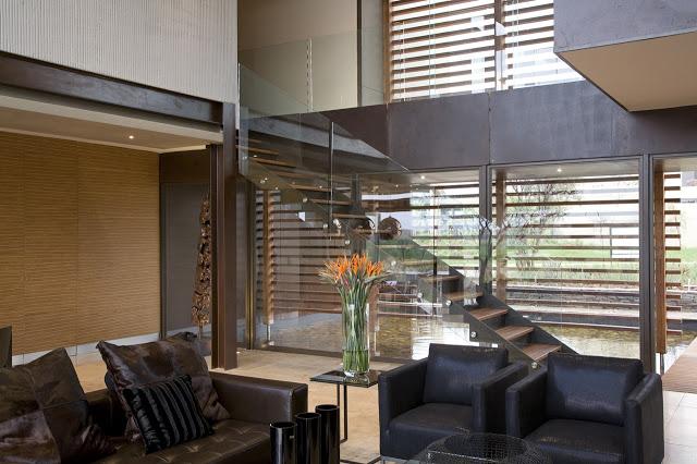フローティング階段黒と白のインテリアデザイン