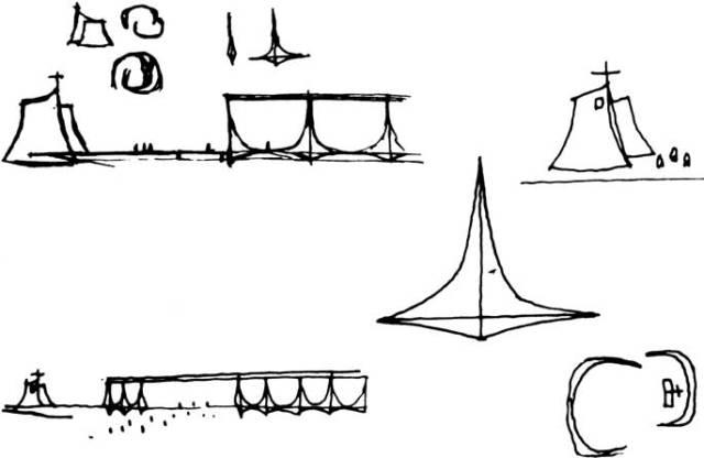 Oscar Niemeyer Homestheticsによるブラジルの真に象徴的なモダンマンションパラシオダアルボラーダのコンセプトスケッチ