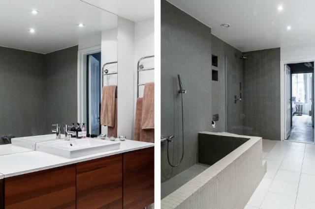 シンプルなスカンジナビアのバスルーム
