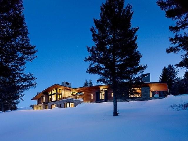 夜の外観ビュートレジデンス-ワイオミングの壮大なパノラマビューを楽しむアーティストの家とスタジオ