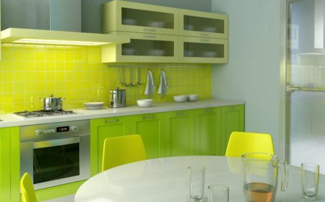 グリーンキッチンキャビネットのアイデア