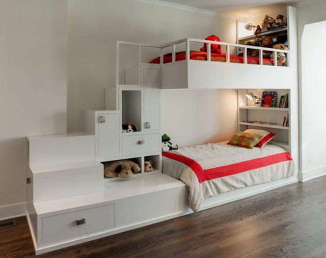 子供用ビルトイン二段ベッド