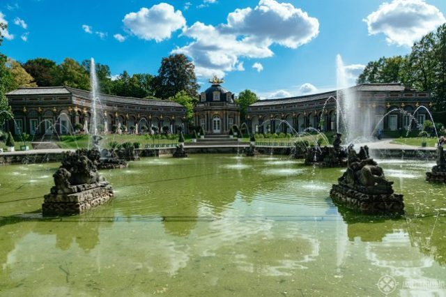 バイロイトのエルミタージュ美術館、太陽の神殿前の噴水