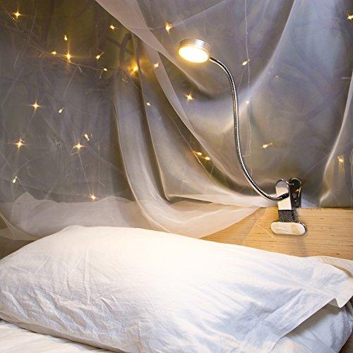 Eyocean LED読書灯、ベッドヘッドボード、寝室、オフィス用の調光可能なクランプライト、3つのモードと9つの調光レベル、フレキシブルクリップデスクランプ、アダプター付属、5W、シルバー