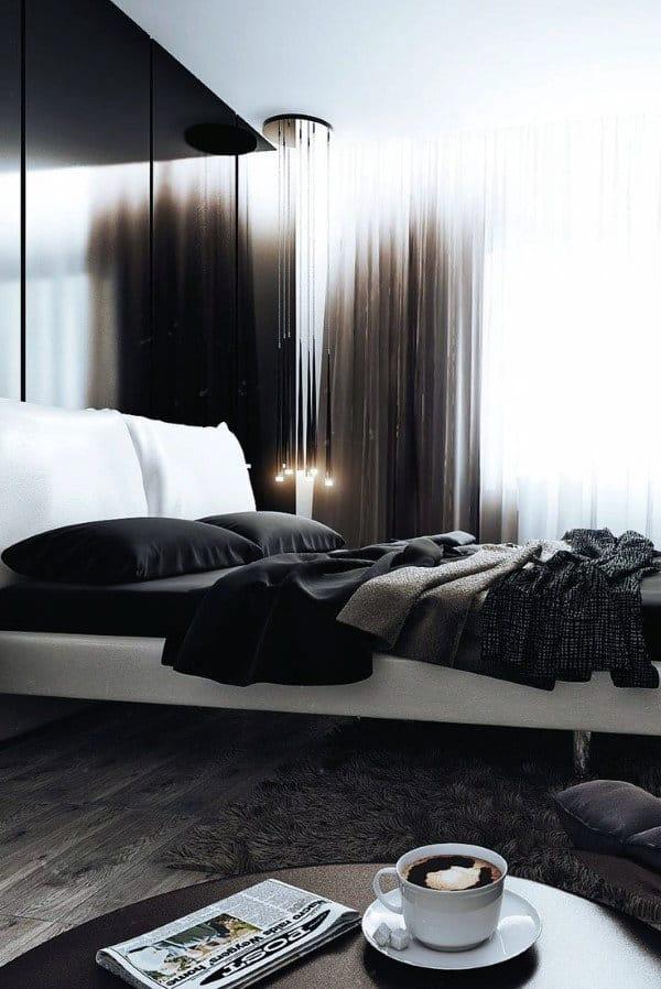 黒と白のモダンなベッドルームのアイデア