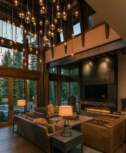 高い天井のフォーマルなリビングルームのアイデア
