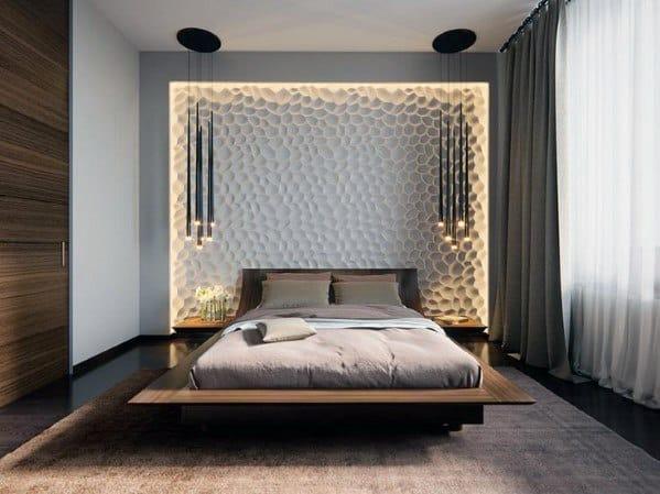 テクスチャードウォールベッドルームの壁の装飾のアイデア
