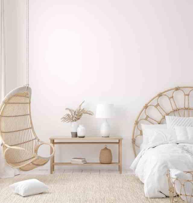 白い自由奔放に生きる寝室のアイデア