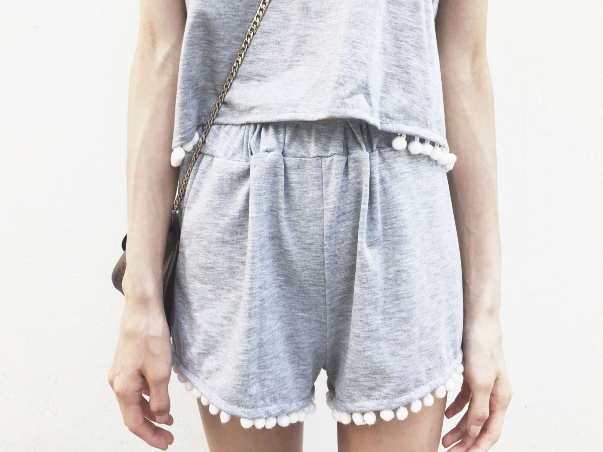 Romwe review of the Grey Pom Pom Crop Cami Top With Shorts