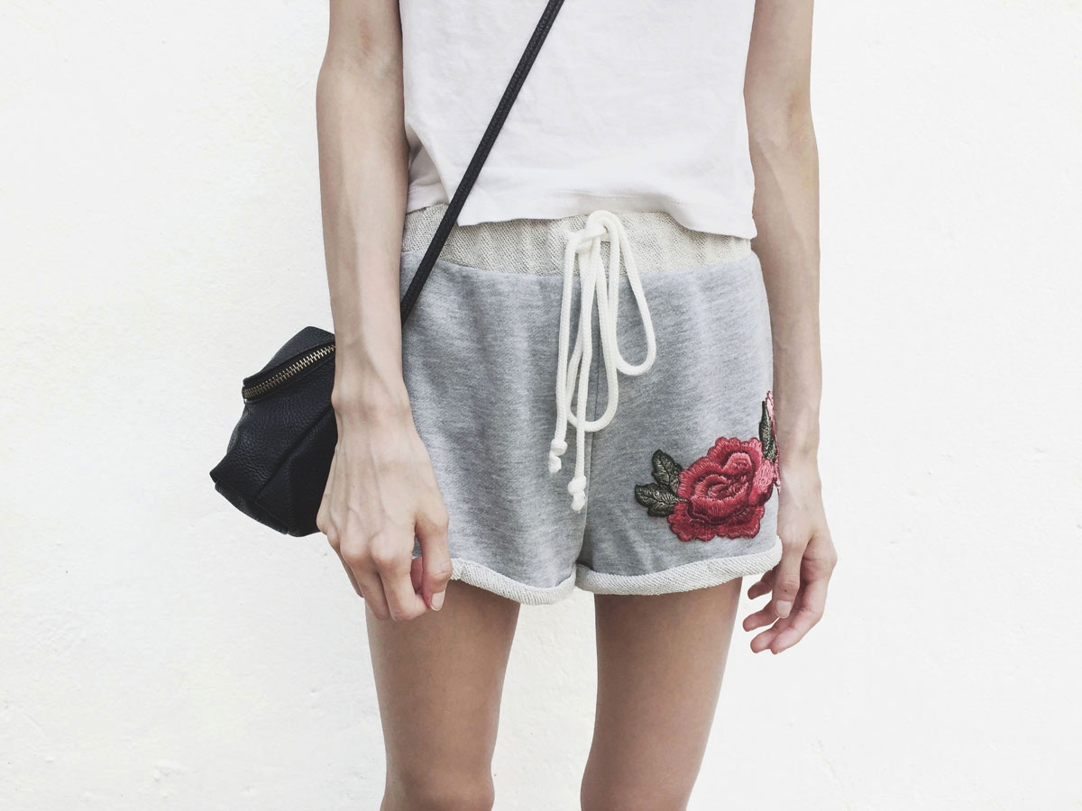 Shein review of the Heather Knit Embroidered Rose Patch Cuffed Shorts