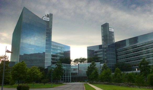 The front view of what once was the the USA Today/Gannett Building in McLean, Virginia. It still houses USAToday and Gannett, but also Tegna, the former broadcasting division of Gannett, which was spun off in 2015.